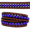 3 Row Double Wrap Bracelet with Snap Clasp Sapphire/Hyacinth