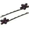 Pair of Flower Bobbie Pins Purple/Gunmetal