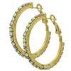 """Rhinestone Hoop Earrings 1"""" Crystal AB/Gold"""