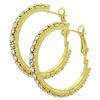 """Rhinestone Hoop Earrings 1"""" Crystal/Gold"""