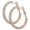 """Rhinestone Hoop Earrings 1"""" Crystal/ Rose Gold"""