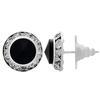 Rondelle Button Earrings 13MM Jet/Silver