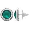 Rondelle Button Earrings 15MM Emerald/Silver