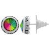 Rondelle Button Earrings 11MM Vitrail Medium/Silver