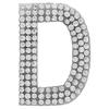 "Rhinestone Alphabet ""D"" Iron On Applique Patch Crystal 1 1/2"""