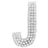 "Rhinestone Alphabet ""J"" Iron On Applique Patch Crystal 1 1/2"""