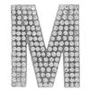 "Rhinestone Alphabet ""M"" Iron On Applique Patch Crystal 1 1/2"""