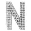 "Rhinestone Alphabet ""N"" Iron On Applique Patch Crystal 1 1/2"""