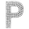 "Rhinestone Alphabet ""P"" Iron On Applique Patch Crystal 1 1/2"""
