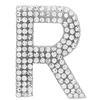 "Rhinestone Alphabet ""R"" Iron On Applique Patch Crystal 1 1/2"""