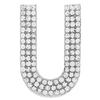 "Rhinestone Alphabet ""U"" Iron On Applique Patch Crystal 1 1/2"""