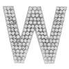 "Rhinestone Alphabet ""W"" Iron On Applique Patch Crystal 1 1/2"""