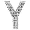 "Rhinestone Alphabet ""Y"" Iron On Applique Patch Crystal 1 1/2"""