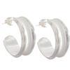 Channel Hoops Earrings, Silver Overlay