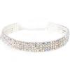 Rhinestone Choker 4 Row Wide Stretch Crystal AB Silver