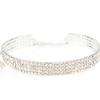 Rhinestone Stretch Choker 4 Row Wide Stretch Crystal Silver