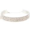 5 Row Rhinestone Choker Necklace Crystal /Silver