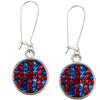 Game Time Bling Basketball Dangle Earrings-Pair - Sapphire/Light Siam