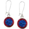 Game Time Bling Circular Dangle Earrings - Sapphire/Light Siam - Sold by the Pair