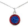 Game Time Bling Circular Dangle Necklace - Sapphire/Light Siam (Periwinkle/Red)