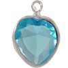 Lucite (Acrylic) Heart in Charm Setting Aquamarine 8.8mm x 8mm