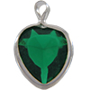 Lucite (Acrylic) Heart in Charm Setting Emerald 8.8mm x 8mm