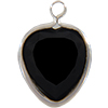 Lucite (Acrylic) Heart in Charm Setting Jet 8.8mm x 8mm