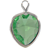 Lucite (Acrylic) Heart in Charm Setting Peridot 8.8mm x 8mm
