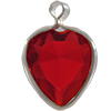 Lucite (Acrylic) Heart in Charm Setting Siam 8.8mm x 8mm