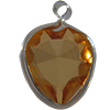 Lucite (Acrylic) Heart in Charm Setting Topaz 8.8mm x 8mm