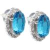 Oval Rhinestone Earrings 18x13 mm Aquamarine Crystal
