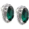 Oval Rhinestone Earrings 18x13 mm Emerald Crystal