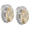Oval Rhinestone Earrings 18x13 mm Golden Shadow Crystal