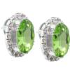 Oval Rhinestone Earrings 18x13 mm Peridot Crystal