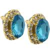 Oval Rhinestone Earrings 18x13 mm Aquamarine Crystal/Gold