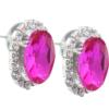 Oval Rhinestone Earrings 18x13 mm Fuchsia Crystal