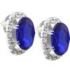 Oval Rhinestone Earrings 18x13 mm Sapphire Crystal