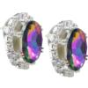 Oval Rhinestone Earrings 18x13 mm Vitrail Medium Crystal