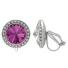 Crystalized with Dreamtime Crystal Clip-On Earrings for Dance Amethyst/Crystal 17mm