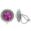 Crystalized with Swarovski Clip-On Earrings for Dance Amethyst/Crystal AB 17mm