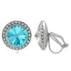 Crystalized with Swarovski Clip-On Earrings for Dance Aquamarine/Crystal 15mm