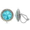 Crystalized with Swarovski Clip-On Earrings for Dance Aquamarine/Crystal AB 15mm