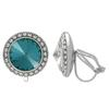 Crystalized with Swarovski Clip-On Earrings for Dance Blue Zircon/Crystal 11mm
