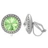 Crystalized with Swarovski Clip-On Earrings for Dance Chrysolite/Crystal 15mm