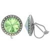 Crystalized with Swarovski Clip-On Earrings for Dance Chrysolite/Crystal AB 15mm