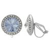 Crystalized with Swarovski Clip-On Earrings for Dance Crystal Blue Shade/Crystal 15mm