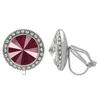 Crystalized with Swarovski Clip-On Earrings for Dance Crystal Dark Red/Crystal 17mm