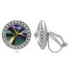 Crystalized with Swarovski Clip-On Earrings for Dance Crystal Rainbow Dark/Crystal 15mm