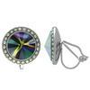 Crystalized with Swarovski Clip-On Earrings for Dance Crystal Rainbow Dark/Crystal AB 15mm