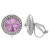 Crystalized with Swarovski Clip-On Earrings for Dance Amethyst/Crystal 11mm